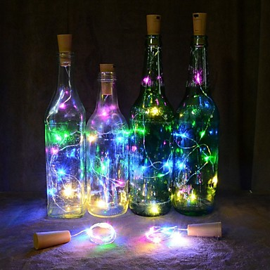 cheap Pre Sale-2m Flexible LED Light Strips 20 LEDs Warm White / Multi Color Christmas Wedding Decoration / Wine Bottle Stopper Cork Copper Wire Batteries Powered 1pc