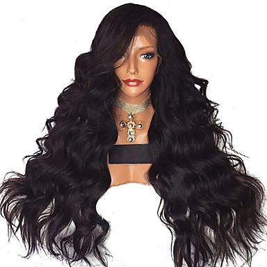 Sentetik Dantel Ön Peruk Dalgalı Stil Yan parça Ön Dantel Peruk Siyah Siyah Sentetik Saç 18-26 inç Kadın's Ayarlanabilir / Isı Dirençli / Parti Siyah Peruk Uzun Doğal Peruk