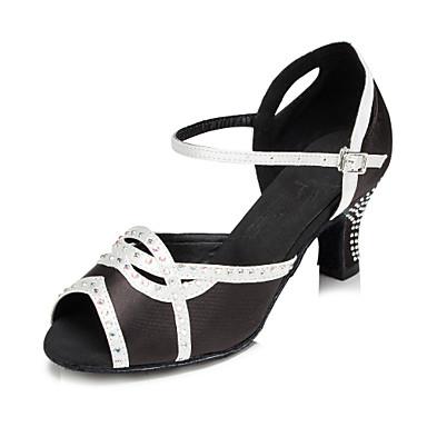 baratos Sapatos de Salsa-Mulheres Sapatos de Dança Cetim Sapatos de Dança Latina Pedrarias Salto Salto Cubano Personalizável Preto / Branco