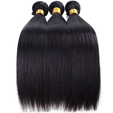 baratos Extensões de Cabelo Natural-3 pacotes Cabelo Brasileiro Liso Cabelo Virgem 100% Remy Hair Weave Bundles Peça para Cabeça Cabelo Humano Ondulado Extensor 8-28 inch Côr Natural Tramas de cabelo humano Fantasias Criativo Clássico