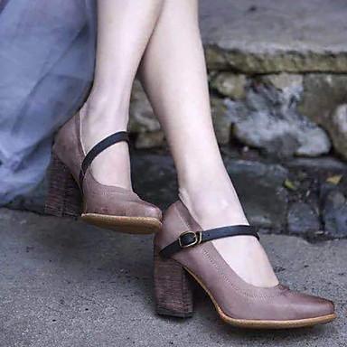 Kadın's Sandaletler Kalın Topuk Yuvarlak Uçlu Toka PU Yaz Siyah / Kırmzı / Gri