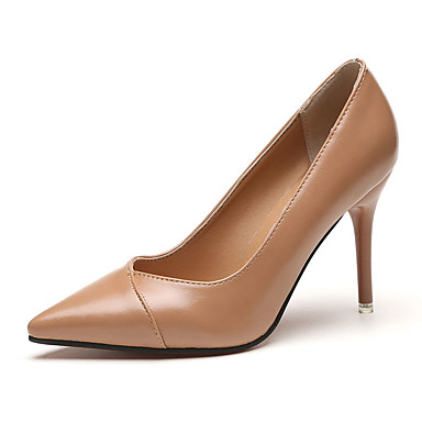 저렴한 여성 신발-여성용 힐 스틸레토 굽 뾰족한 발가락 PU 미니멀리즘 여름 블랙 / 레드 / 카키