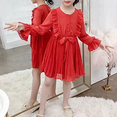 baratos Vestidos para Meninas-Infantil Bébé Para Meninas Doce Estilo bonito Vermelho Poá Frufru Cordões Manga Longa Acima do Joelho Vestido Vermelho