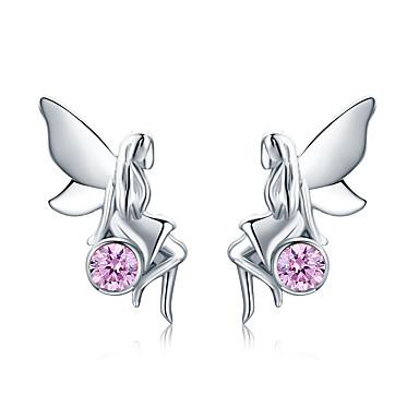 baratos Bijuteria de Mulher-Nova moda 100% 925 sterling silver flor fada rosa cz stud brincos para mulheres presente da jóia de prata esterlina sce395