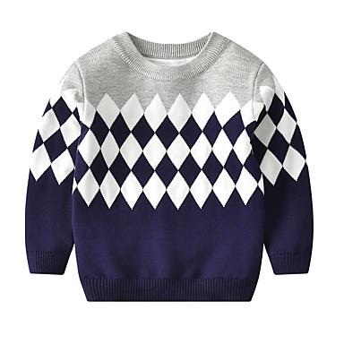 baratos Suéteres & Cardigans para Meninos-Infantil Bébé Para Meninos Activo Básico Geométrica Estampado Estampado Manga Longa Suéter & Cardigan Azul Claro