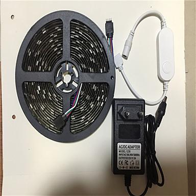 abordables Bandes Lumineuses LED-5m Bandes Lumineuses LED Flexibles / Ensemble de Luminaires / Barrette d'Eclairage RVB 150 LED SMD5050 Adaptateur 1 x 12V 3A RVB Contrôle de l'APP / Créatif / Soirée 100-240 V 1 set