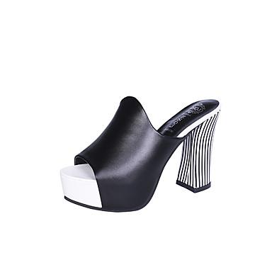 voordelige Damessandalen-Dames Slippers & Flip-Flops Blokhak Peep Toe PU Zomer Zwart / Wit / Rood