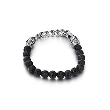 abordables Bracelet-Bracelet à Perles Homme Femme Perlé Acier au titane Vélo simple Bracelet Bijoux Noir pour Soirée Quotidien Ecole Plein Air