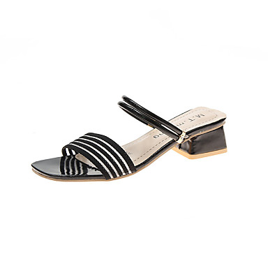 Kadın's Sandaletler Kalın Topuk PU Günlük Yaz Siyah / Yeşil / Sarı