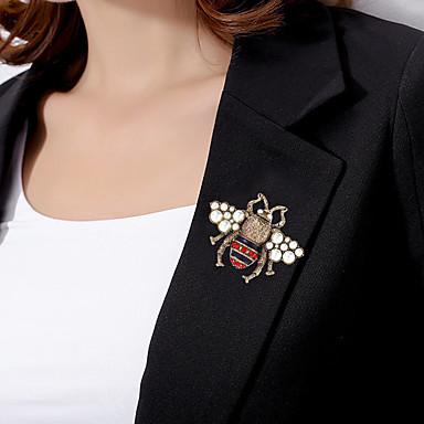 Kadın's Broşlar Tropik Bal Arısı Vintage Renkli İnci Altın Kaplama Simüle Elmas Broş Mücevher Beyaz / Kırmızı Beyaz / Sarı Uyumluluk Düğün Nişan Hediye Çalışma Söz vermek