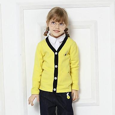 baratos Suéteres & Cardigans para Meninas-Bébé Para Meninas Activo Sólido Manga Longa Suéter & Cardigan Amarelo
