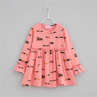 baratos Jaquetas & Casacos para Meninas-Infantil Bébé Para Meninas Boho Sofisticado Feras Fantásticas Estampado Frufru Bordado Longo Casaco Trench Rosa