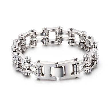 voordelige Herensieraden-Heren Dames Zilver Armband Schakelketting Fietsen Punk Roestvast staal Armband sieraden Zilver Voor Feest Dagelijks Carnaval Straat Club