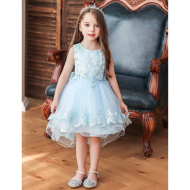 baratos Vestidos para Meninas-Infantil Bébé Para Meninas Activo Estilo bonito Sólido Bordado Sem Manga Médio Vestido Azul Claro