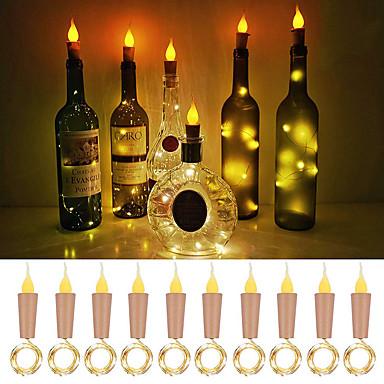 Loende alev mantar şeklindeki ışıkları 10 paket firefly craft şişe ışıkları şarap şişeleri için pil kumandalı mum ışıkları