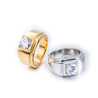 voordelige Herensieraden-Heren Bandring Ring 1pc Goud Zilver Titanium Staal Cirkelvormig Vintage Standaard Modieus Dagelijks Sieraden