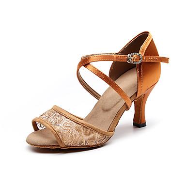 baratos Shall We® Sapatos de Dança-Mulheres Renda Sapatos de Dança Latina Renda Salto Salto Carretel Personalizável Castanho Escuro