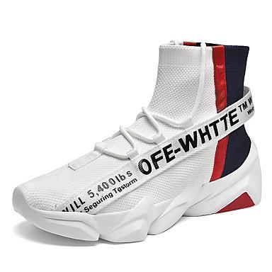 Erkek Ayakkabı Elastik Kumaş Sonbahar Kış Sportif Atletik Ayakkabılar Günlük için Siyah / Beyaz