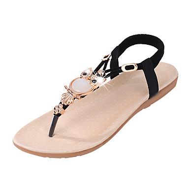 hesapli Kadın Sandaletleri-Kadın's Sandaletler Düz Taban Açık Uçlu Sentetikler Yaz Siyah / Drak Red / Açık Mavi
