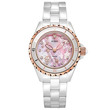 baratos Relógios Homem-Mulheres Relógios de Quartzo Casual Elegante Branco Cerâmica Chinês Quartzo Rosa Impermeável Relógio Casual 30 m Analógico Um ano Ciclo de Vida da Bateria / Aço Inoxidável
