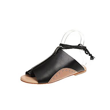 Kadın's Sandaletler Düz Taban Yuvarlak Uçlu PU Yaz Siyah / Kahverengi / Bej