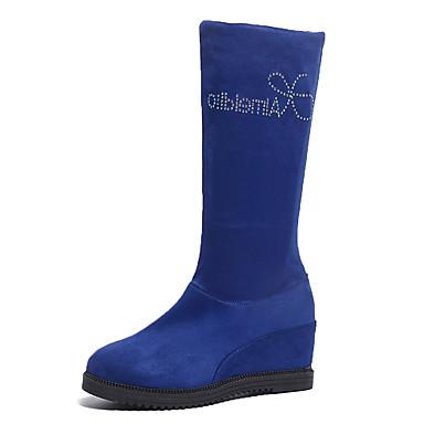 voordelige Dameslaarzen-Dames Laarzen Sleehak Ronde Teen Sprankelend glitter Elastische stof Kuitlaarzen Zoet Herfst winter Zwart / Bruin / Blauw