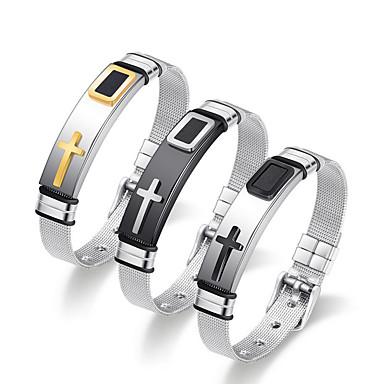 abordables Bracelet-Large bracelet Homme Femme Rétro Acier au titane Croix Punk Bracelet Bijoux Argent / Noir Dorée Argent pour Quotidien
