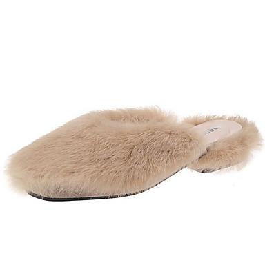 voordelige Damespantoffels & slippers-Dames Slippers & Flip-Flops Platte hak Vierkante Teen Suède Zomer Zwart / Luipaard / Geel