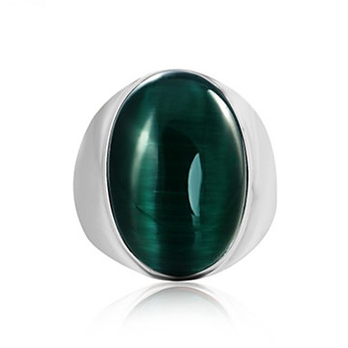voordelige Herensieraden-Heren Ring Edelsteen 1pc Koffie Rood Groen Titanium Staal Cirkelvormig Vintage Standaard Modieus Dagelijks Sieraden