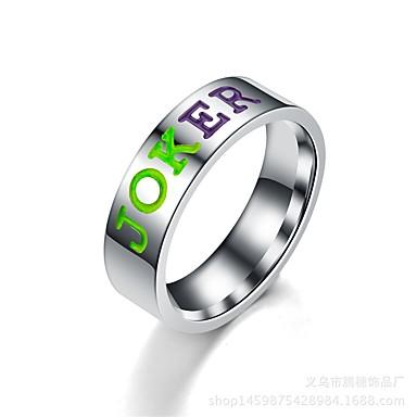 voordelige Herensieraden-Heren Dames Bandring Ring Staartring 1pc Rood Groen Roestvast staal Cirkelvormig Vintage Standaard Modieus Lahja Sieraden Letter Cool