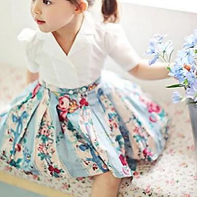 baratos Vestidos para Meninas-Infantil Para Meninas Doce Floral Manga Curta Altura dos Joelhos Vestido Azul