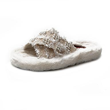 voordelige Damespantoffels & slippers-Dames Slippers & Flip-Flops Platte hak Ronde Teen Imitatiebont Herfst winter Zwart / Wit