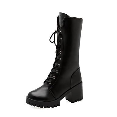 voordelige Dameslaarzen-Dames Laarzen Blok hiel Ronde Teen PU Kuitlaarzen Brits Herfst winter Zwart