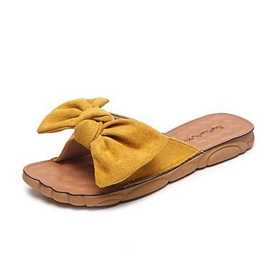 voordelige Damespantoffels & slippers-Dames Slippers & Flip-Flops Platte hak Open teen  PU Zomer / Herfst Zwart / Kristal / Geel