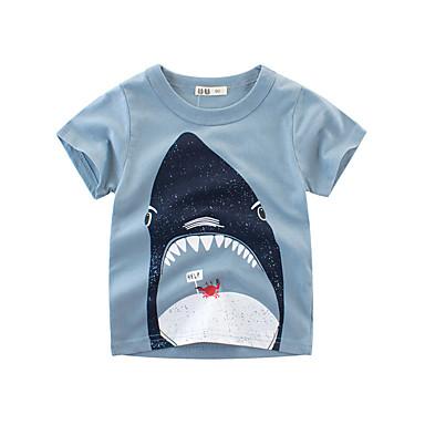 baratos Camisas para Meninos-Infantil Para Meninos Básico Geométrica Estampado Manga Curta Blusa Azul