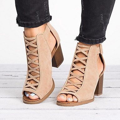 abordables Zapatos de Mujer-Mujer Sandalias Tacón Cuadrado Punta abierta Tela Verano Negro / Caqui