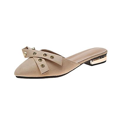 voordelige Damespantoffels & slippers-Dames Slippers & Flip-Flops Blokhak Siernagel PU Informeel Zomer Zwart / Beige