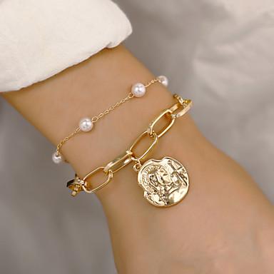 billige Motearmbånd-Dame Armbånd med anheng Klassisk Dyrebar Vintage Legering Armbånd Smykker Gull / Sølv Til Daglig