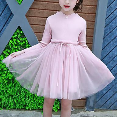 baratos Vestidos para Meninas-Infantil Para Meninas Estilo bonito Moda de Rua Sólido Retalhos Com Transparência Patchwork Manga Longa Vestido Rosa