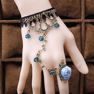 baratos Bijuteria de Mulher-Mulheres Pulseiras Anéis Retro Flor Lolita Renda Pulseira de jóias Preto / Verde / Roxo Claro Para Festa