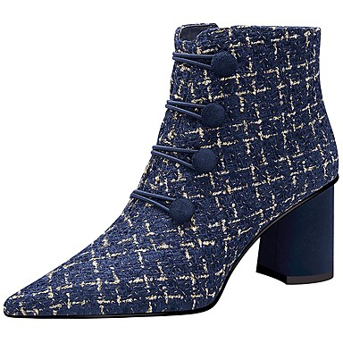 voordelige Dameslaarzen-Dames Laarzen Blokhak Gepuntte Teen Polyester / Wol Winter Zwart / Blauw
