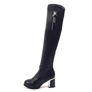 voordelige Dameslaarzen-Dames Laarzen Blokhak Ronde Teen Imitatiebont / Synthetisch Over de knie laarzen Lente / Herfst winter Zwart