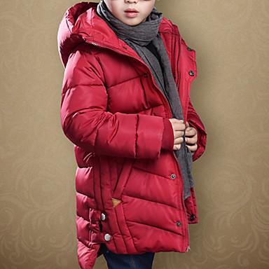 baratos Jaquetas & Casacos para Meninos-Infantil Bébé Para Meninos Básico Sólido Fenda Padrão Capa & Casaco Duvet Vermelho