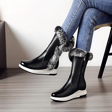 voordelige Dameslaarzen-Dames Laarzen Sleehak Ronde Teen PU Kuitlaarzen Klassiek / Studentikoos Herfst winter Zwart / Wit