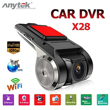 abordables Automatique High tech-anytek x28 dash cam fhd 1080p voiture dvr 150 degrés grand angle voiture dvr gps enregistreur vidéo avec wifi / mini / g-capteur / adas / enregistrement en boucle / détection de montion