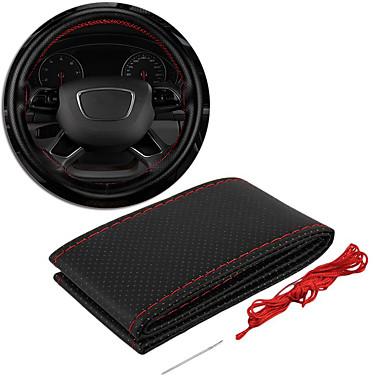 voordelige Auto-interieur accessoires-stuurhoes lederen hand stiksels voor stoel stuurhoes polyester gebreid stretch zwart / rood alle jaren auto