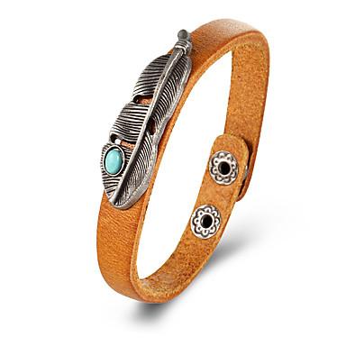 abordables Bracelet-Bracelets en cuir Femme Classique Plume Punk Bracelet Bijoux Noir Jaune Rouge Bordeaux pour Quotidien