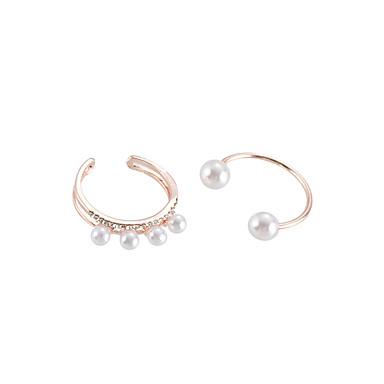 billige Motering-Dame Ring Set / Multi-fingerring 2pcs Gull / Sølv Imitert Perle / Legering Enkel / Koreansk / Mote Fest / Daglig / Skole Kostyme smykker