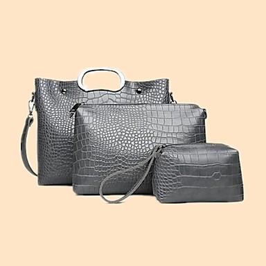 baratos Super Ofertas-Mulheres Ziper PU Conjuntos de saco Côr Sólida 3 Pcs Purse Set Vermelho / Cinzento / Marron / Outono & inverno