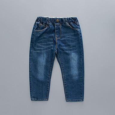 baratos Jeans Para Meninos-Infantil Para Meninos Básico Moda de Rua Sólido Jeans Azul